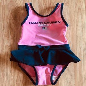 Baby girls Ralph Lauren pink navy swimsuit 3-6 mos
